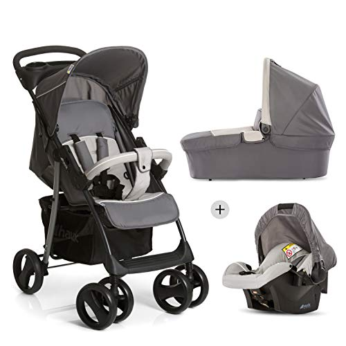 Hauck Shopper SLX Trio Set, 3 in 1 Travel System with Infant Car Seat, Carrycot and Pushchair, Lightweight Folding Buggy up to 25 kg with Lying Position, Cup Holder, Raincover, Stone Grey