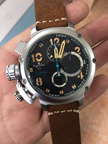 KLMWDSB Neue automatische mechanische Männer U Chronometer U1001 Uhr U-51 Silber im Alter von braunem Leder Boot schwarz blau Rose Gold 7