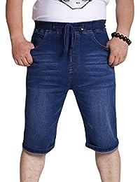 Xinwcang Hombre Jeans Cortos Básicos Slim Fit Stretch Vaqueros Chino  Pantalón Corto Bermuda Pantalones Denim 29ee703d556b