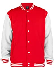 URBAN CLASSICS 2-Tone College Sweatjacke TB207 red/white XS