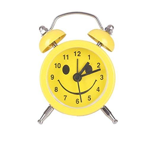 Cute Emoji-Emoticon Twin Bell Silent Legierung Edelstahl Metall Wecker Ihr Geschenk, gelb (Hohe Sound-wecker)