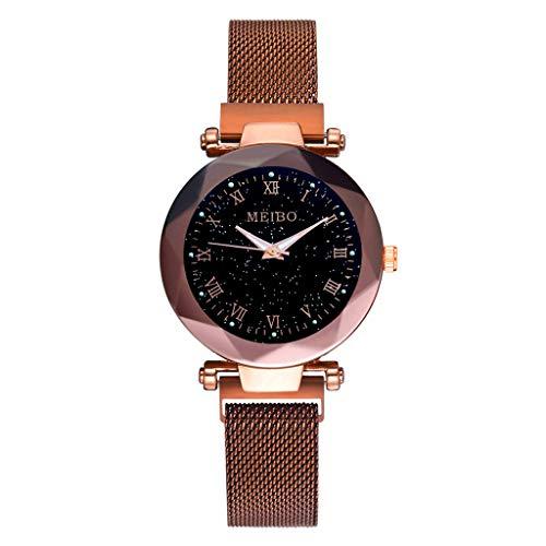 XZDCDJ Damen Armbanduhr Sternenhimmel Flachglas Quarz Mesh mit Magnetschnalle Damenuhr Mode Damen Uhren Billig