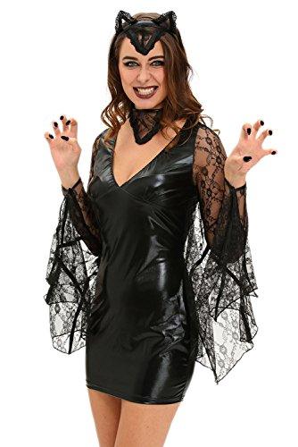 spass42 Damen Kostüm Fledermaus Vampir Wetlook Kleid Kurz Gothic Dark Lady Vampirin Halloween Hexe badgirl Groesse: M (Womens Gothic Halloween Kostüme)