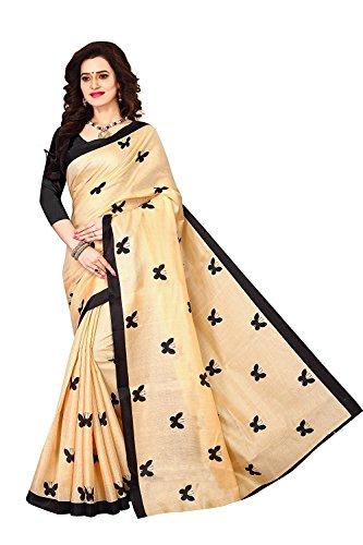 Esomic Women's Cotton Dupatta Saree (S1095 Titli_Black)
