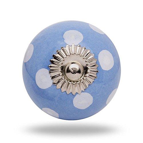 Pomello rotondo in ceramica, colore: bianco a pois, colore: blu chiaro, finite Porta manopola,tira maniglia per Cassetti Armadio by Trinca-Ferro