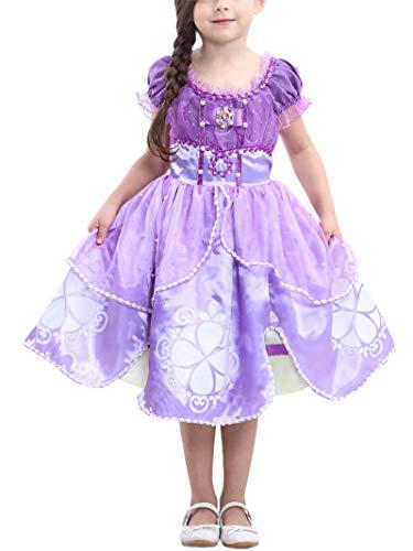 FStory&Winyee Mädchen Prinzessin Sofia Kostüm Lila Kinder Cosplay Tutu Kleid mit Goldener Silberner Brosche Karneval Verkleidung Party Weihnachten Faschingkostüm für Mädchen