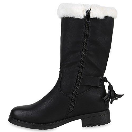 Stiefelparadies Damen Warm Gefütterte Stiefel Winterstiefel Schnallen Kunstfell Winter Boots Damenschuhe Profilsohle Bommel Booties Schuhe Flandell Schwarz Camargo