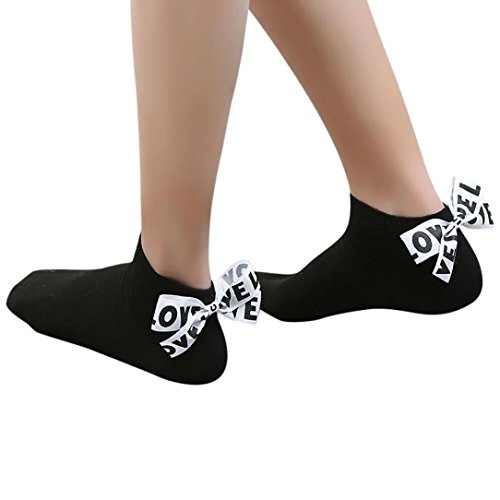 Women Socks Cotton EUzeo Bow Love Letter Ankle High Socks (Short, Black)