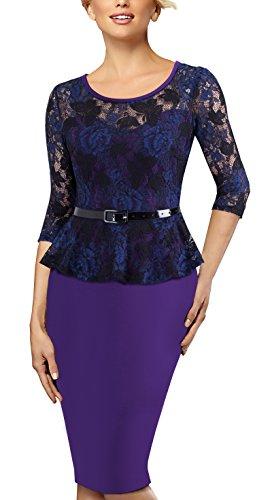 HOMEYEE Elegante cintura a vita alta vestito da cocktail 3/4 del manicotto del merletto rappezzatura retro dell'annata delle donne B360 Viola