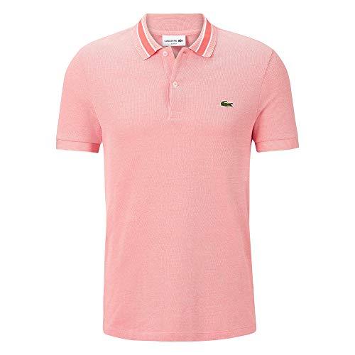 Lacoste PH4251 Herren Polo Shirt Kurzarm,Männer Polo-Hemd,2 Knopf,Slim Fit,Dianthus/Flour(77R),XXX-Large (8) - Strukturierte Langarm-polo-shirt