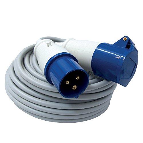 Electraline 46148 prolunga cavo FROR 20 mt presa industriale IEC spina a 3 poli adatta per camper, campeggio, caravan, barca, cantiere - IP44 Grigio