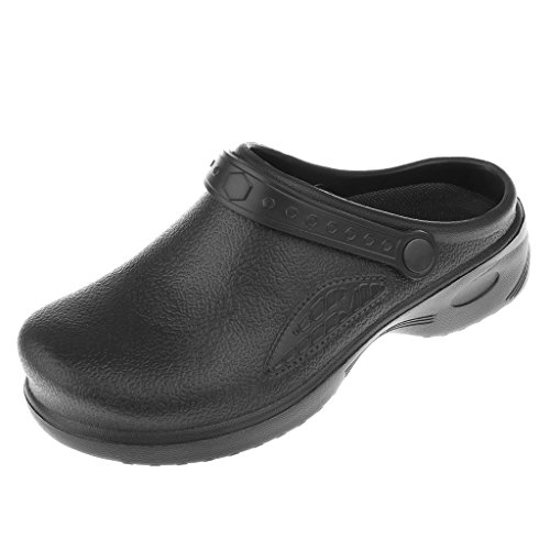 IPOTCH Sicherheits-Sandale Sicherheitsclog Arbeitsschuhe Berufsschuhe Küche Sicherheitsschuhe für Herren Damen - Schwarz, 40 - Koch Schuhe-clogs