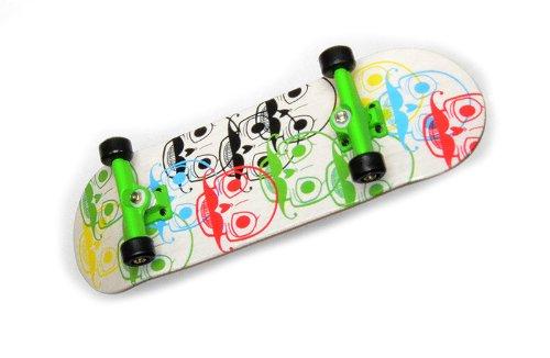 "KOMPLETT Fingerskateboard WORLD-CREATIVE #2 \""Logo-Heads\"" Deck + Achsen GRÜN + ROLY-POLY Wheels SWZ von FREEFINGERS® Handmade Wood Fingerboard"