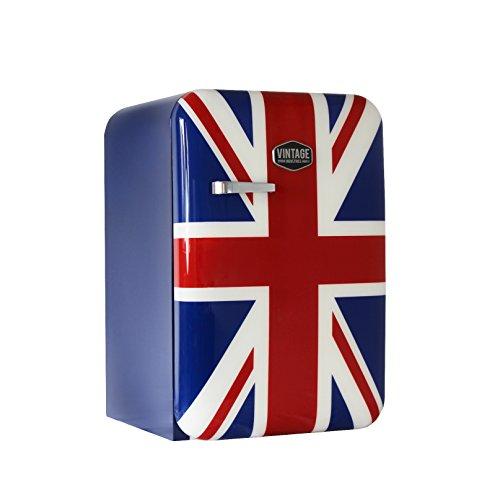 Vintage Industries ~ Kompakt Retro-Kühlschrank Kingston 2018 Union Jack | Mini-Bar 50er Jahre Look | Größe: 84cm & 115l Volumen | Tisch-Kühlschrank mit Temperatureinstellung, Wein- & - Mini-kühlschrank-bier-flaschen