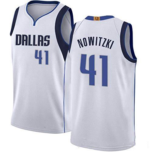 Dirk Nowitzki # 41 Herren-Basketballtrikot - NBA Dallas Mavericks, New Fabric Embroidered Swingman Jersey Shirt White-M