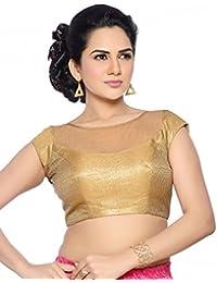 Studio Shringaar Wedding Superb Gold Solid Short Sleeve Padded Blouse