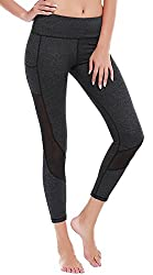 Deeptwist Mesh Yoga Capri Pants Breathable Running Tights Fitness Tummy Control Workout Leggings For Women With Side Pocket, Uk-dt4008-dark Grey-10