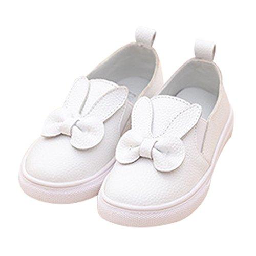 Mädchen Casual Lederschuhe faul Kaninchen weiße Schuhe Prinzessin Schuhe mit weichen Sohlen Rosa Weiß