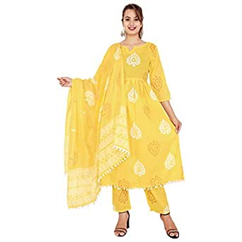 Stylum Women's Floral Print Cotton Pleated Kurta Pant Dupatta Set (Yellow, XL)