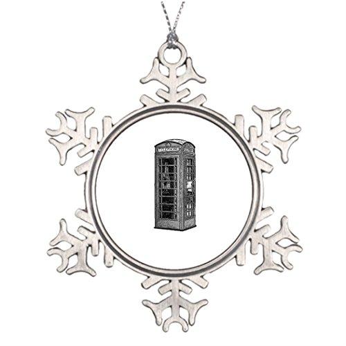 Ai Vion N. Personalisierbar Weihnachtsbaumschmuck Schwarz und Weiß Britische Telefonzelle, Illustration Weihnachten Schneeflocke Ornaments Clearance (Online Clearance Weihnachten Dekorationen)