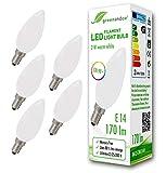 5x greenandco® CRI90+ LED Lampe ersetzt 18 Watt E14 Kerze matt, 2W 170 Lumen 2700K warmweiß Filament Fadenlampe 360° 230V AC nur Glas, nicht dimmbar, flimmerfrei, 2 Jahre Garantie