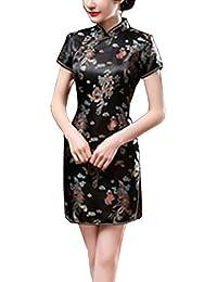 Freestyle Cinese Tradizionale Cheongsam Abito Donna Moda Corto Vestiti  Classico Maniche Corte Tuta Tang Elegante Fiore 222d6b8e6cf