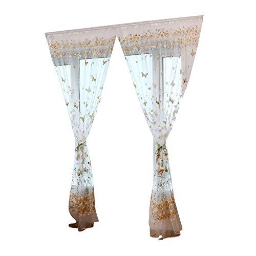 Pushfocourag 1pc farfalla fiore voile divisorio porta mantovana finestra tenda 100x 200cm green