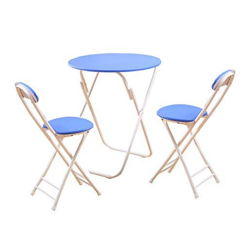 YXX Tableau À Manger Pliante en Bois avec 3 Chaises Table À Café Ronde Et À Thé Bleue avec 3 Balcons (1 Tableau + 2 Chaises) (Taille : 60x60x71cm)