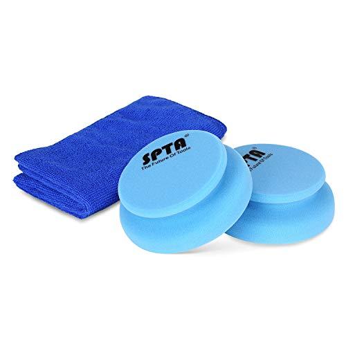 SPTA Auto Hand Polierschwamm polierschwämme polierset Schwamm Kit, mit umgebenden Griff & 1Pcs Reinigungstuch für Wachsen, Polieren, Lackreinigung, statt Poliermaschine