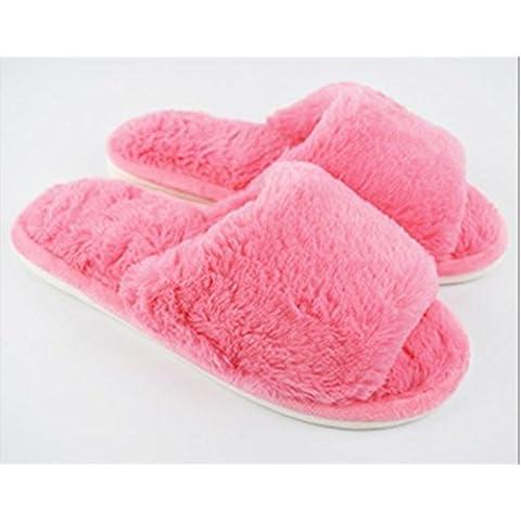 Coppia di inverno caldo paio antiscivolo cotone pantofole 2 , rose red , (1.5 Pvc Slittamento)