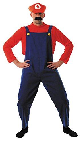 Disfraz de plombier rojo y azul, estilo Mario, incluye Salopette y la camiseta rojo (gorra y bigote se vende a parte) Talla única L NB: Atención. Este artículo requiere un plazo de 3días adicionales aproximadamente antes envío.