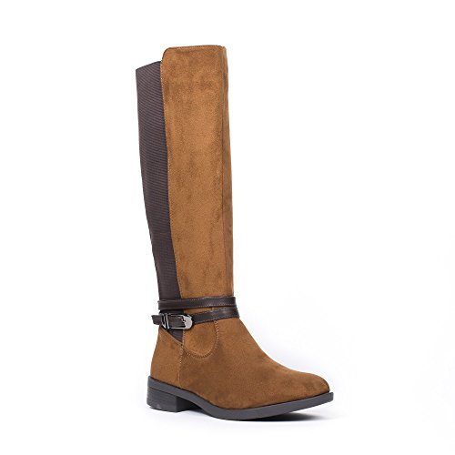 Ideal Shoes Bottes Cavalières Effet Daim avec Bandes Élastiques Olwenn Camel