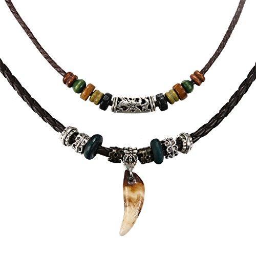 JewelryWe Schmuck Herren Halskette, Doppelte Leder Kette geflochten verstellbar mit Retro Wolf Gebiss Zahn Anhänger Kugel Perlen Beads, Schwarz Mehrfarbig
