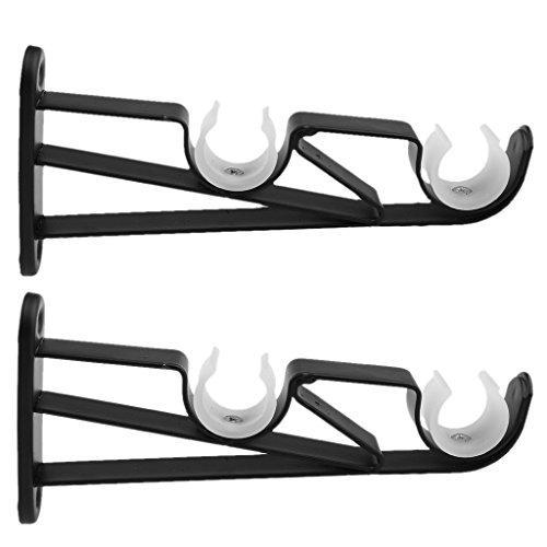 Baoblaze 2Pcs De Hierro Fácil de instalar, puede fijar la barra de cortina firmemente - 4# Varilla Doble Negro