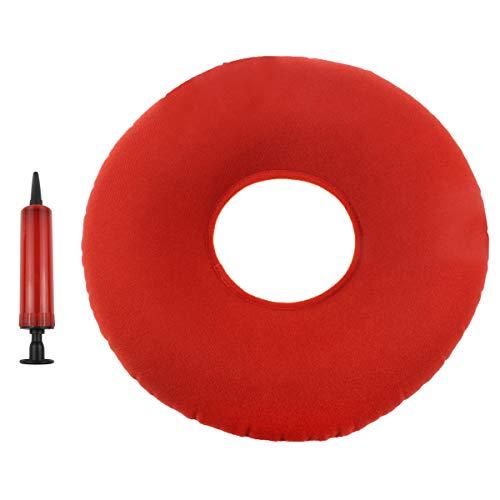 SelfTek 1 Piezas Cojín Inflable Redondo con Reducción de Presión y Hemorroides Tailbone con Mini Bomba Inflable Libre Color Aleatorio
