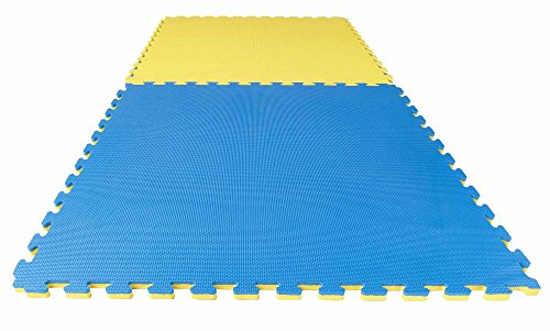 Puzzlematte Econo 2cm Crosstexture blau/gelb Wendematte