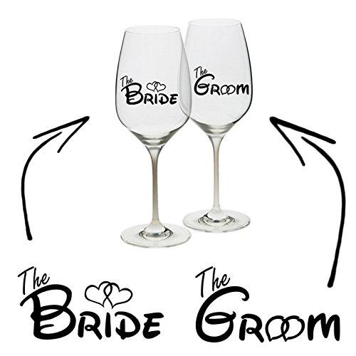 Bride Groom Vinyl Aufkleber Aufkleber Weinglas Cup Becher Hochzeit Henne Hirsch Geschenk Einzigartige Personalisierte