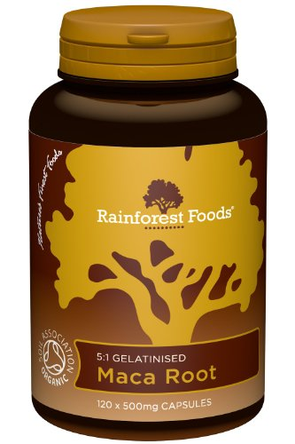 Rainforest Foods Organic Gelatinised Maca Root 5:1 (2500mg equivalent) Capsules, 500mg Pack of 120 Test