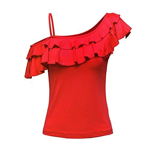 Wgwioo Erwachsenen Gurt Latin Dance Kleid Mit Kurzen Ärmeln T-Shirt , Big Red , S