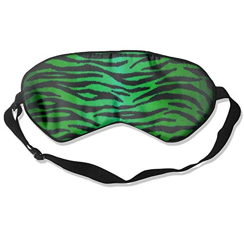 Green Tiger Printing Pattern Natural Silk Sleep Mask & Blindfold Super-Smooth Eye Mask