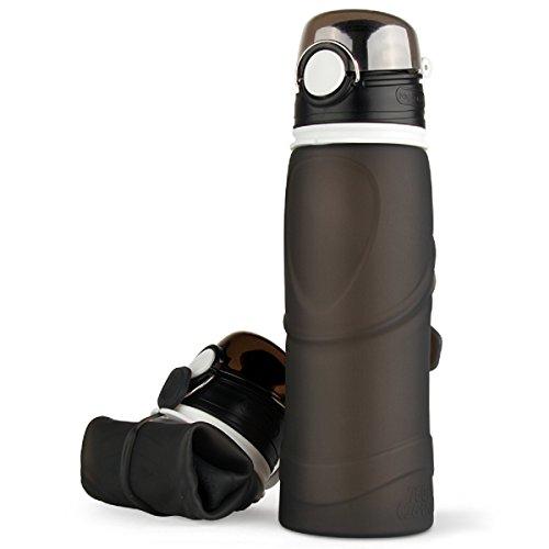 MF Wasser Flasche Faltbar Anti auslaufen mit Auslaufsicher Flaschen Reise Outdoor Sport Lightwight Tragbar, 26 Unze (750ml), Grau