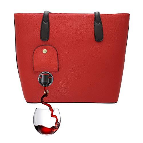 PortoVino WeinHandtasche (Rot) - Modische Henkeltasche mit verstecktem, isoliertem Fach - Enthält 2 Flaschen Wein in einem herausnehmbaren Beutel!