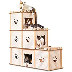 Casa De Gato Corrugado para Mascotas Casa De Gato Garras De Techo Gato Scratch Board Marco De Escalada para Gato De Deformación Múltiple