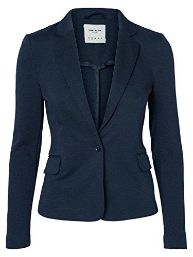 VERO Moda - Damen Jersey-Blazer in grau, schwarz,blau,Curry,Rose oder Wine (10154123), Größe:36, Farbe:Total Eclip