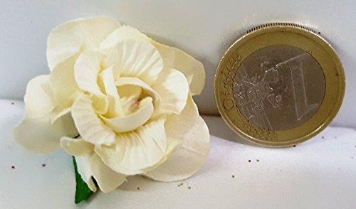 Confezione 72 pezzi-fiori, bomboniera fiore rosellina, x segnaposto, composizione confetti. ck2113 (panna)