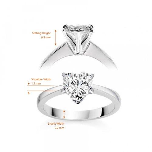 Diamond Manufacturers, Damen, Verlobungsring mit 0.41 Karat F/VS1 feinem und zertifiziertem Herzdiamant in Platin - 6