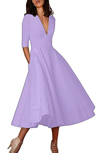 YMING Damen Cocktailkleid Elegantes Vintage 1/2 Arm Partykleid Tief V Ausschnitt Midikleid,S-XXL Lavender