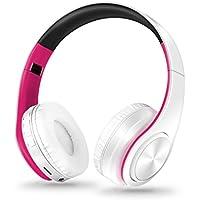 STRIR Bluetooth para auriculares estéreo V4.0 Música plegable Over-oreja sonido de alta fidelidad Calling construido en Mircophone manos libres, inalámbrico de conexión de cable,Reproducción de la tarjeta TF (Rosa roja)