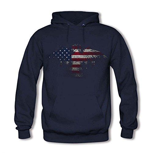 Men Unisex Hoodie Sweatshirt printed American Eagle Flag Navy M (Hoodie American Sweatshirt Eagle)