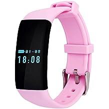 QHGstore D21 Monitor de ritmo cardiaco Pulsera inteligente Reloj de baño Reloj Contador de paso Llamada Mensaje Recordatorio Smartband rosado